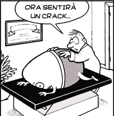 """L'osteopata è alle spalle del paziente che sembra un delicato uovo, e dice """"ora sentirà un crack"""""""