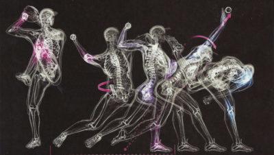su sfondo nero si vede stilizzato il movimento di un uomo che sta lanciando una pallina
