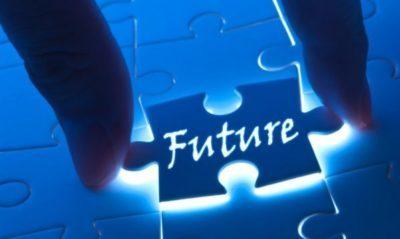 Un tassello di un puzzle blu luminoso con scritto future