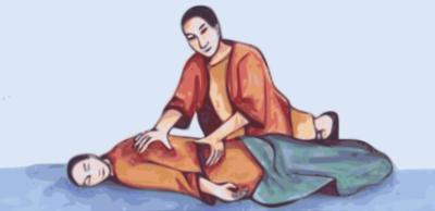 dipinto orientale antico in cui un uomo esegue un massaggio