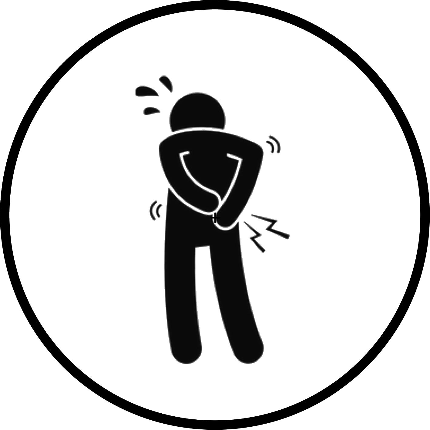 Una persona stilizzata con le mani dietro la schiena con segni di dolore