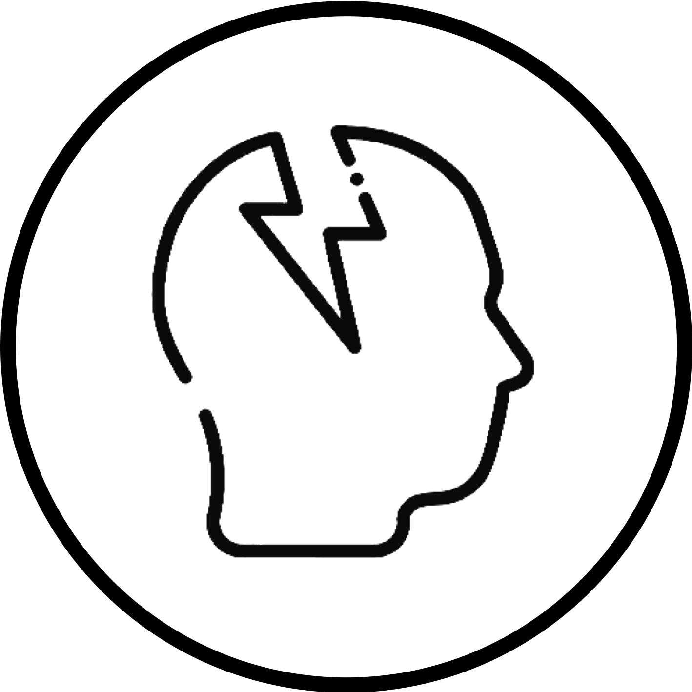 Una testa stilizzata con il simbolo di un fulmine che vi entra dentro