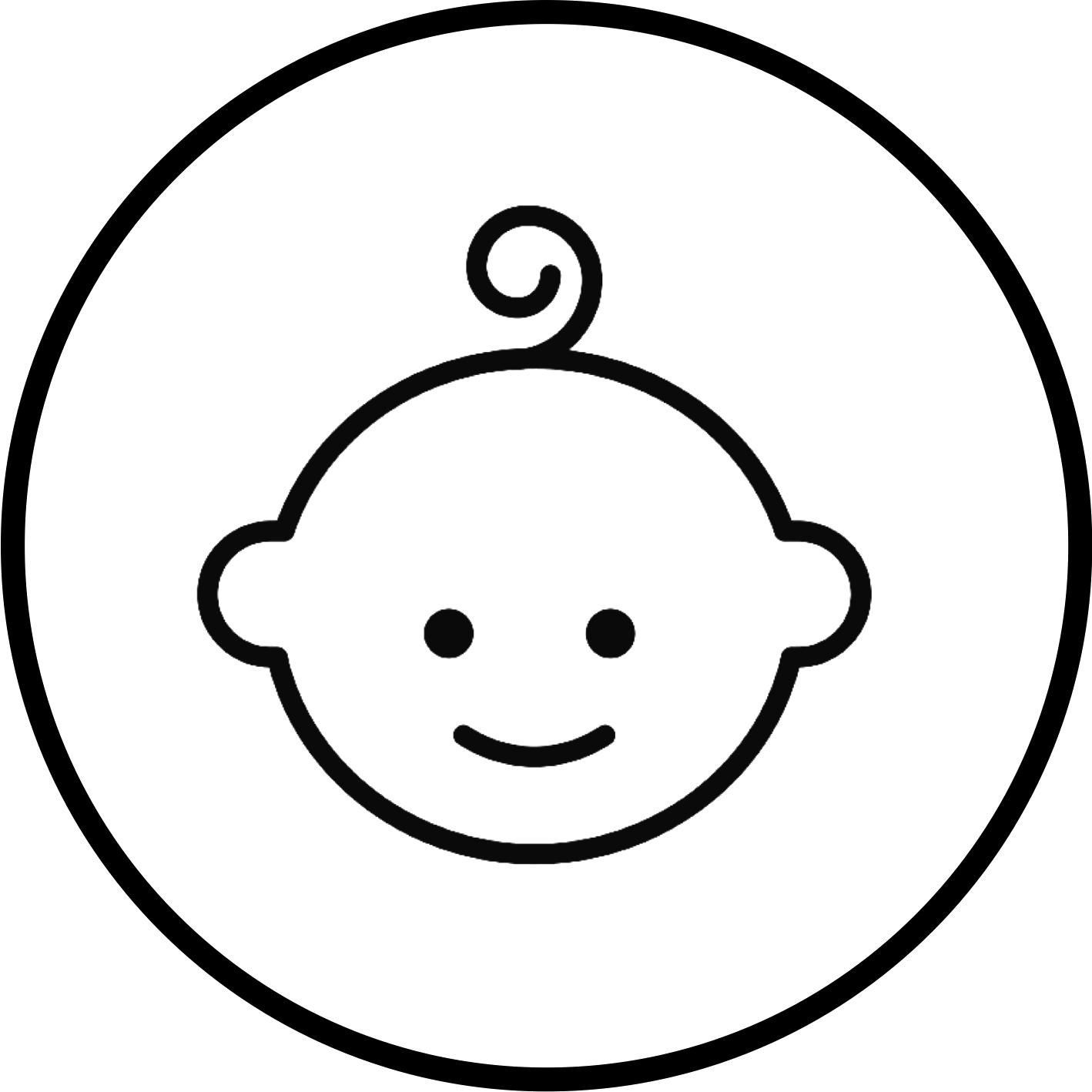 Il volto stilizzato di un bambino sorridente con un piccolo ciuffo di capelli